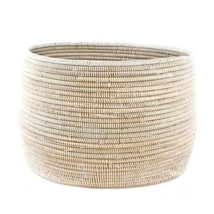 Connected Fair Trade Products-Woven African Knitting Basket - White