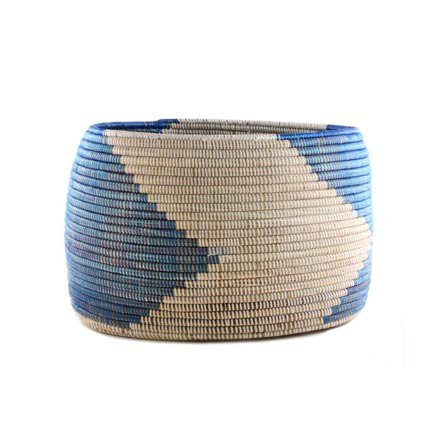 Connected Fair Trade Products-Woven Storage Basket - Blue