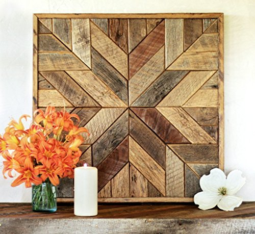 Grindstone Design-Reclaimed wood star quilt block wall art