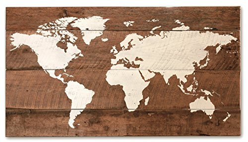 Grindstone Design-Reclaimed wood world map medium size
