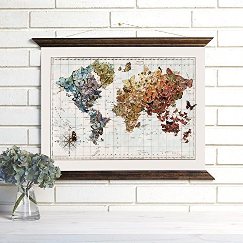 ImagineNations by Wendy Gold- Vintage Map Art Wood Bound Canvas Wall Hanging