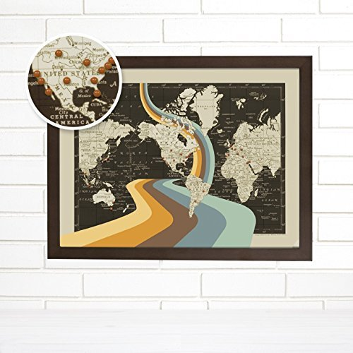 ImagineNations by Wendy Gold-Not All Who Wander are Lost Push Pin Map, Vintage World Push Pin Map Art