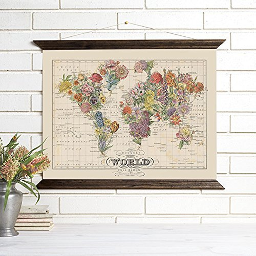 ImagineNations by Wendy Gold-Wood Bound Canvas Vintage Map Art Wall Hanging
