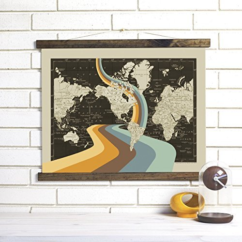 "ImagineNations by Wendy Gold-""Not All Who Wander Are Lost"" Wood Bound Canvas Vintage Map Art Wall Hanging"