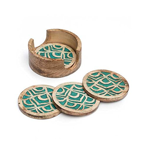 Matr Boomie-Mango Wood Coasters, Handmade Fair Trade (Peacock)