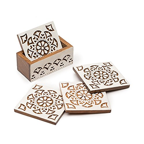 "Matr Boomie-Set of 4 Fair Trade ""Aashiyani"" Carved Rosewood Coasters -"