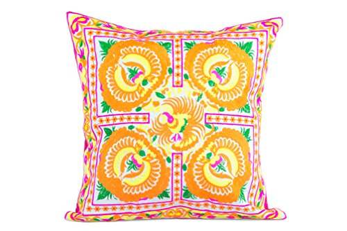 changnoi-Yellow Peony Hill Tribe Cushion Cover Hmong Embroidered Boho Hippie