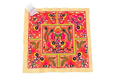 changnoi-Hmong Embroidered Hill Tribe Fashionable Style Yellow Birds Fabric