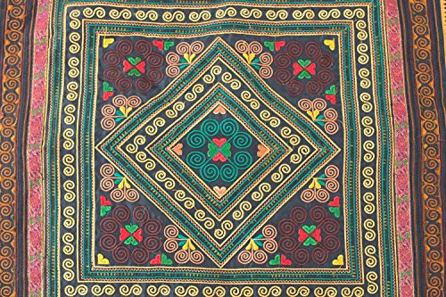 changnoi-Mocha Diamond Textlie Hmong Embroidered Fabric