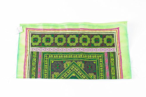 changnoi-Green Diamond Textlie Hmong Embroidered Fabric