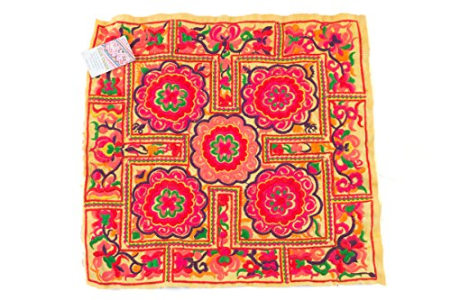 changnoi-Hmong Embroidered Yellow Circle Pattern Hill Tribe Textile