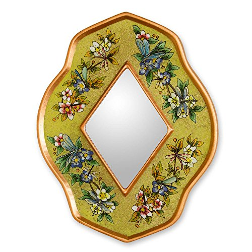 NOVICA-Reverse Painted Glass and Wood Wall Mounted Mirror - Yellow Multicolor