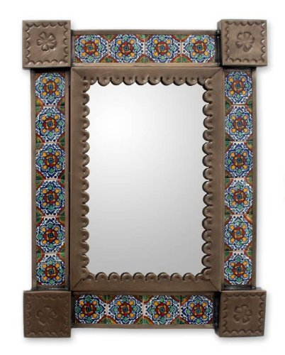 NOVICA-NOVICA Floral Ceramic Wall Mounted Mirror, Blue 'Colonial Garland'