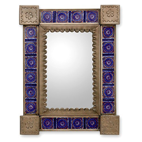 NOVICA-NOVICA Floral Tin and Ceramic Wall Mounted Mirror, Blue 'Colonial Blue'