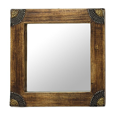 NOVICA-Decorative Aluminum Brass Wall Mounted Mirror