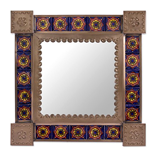 NOVICA-NOVICA Tin Colonial Ceramic Wall Mounted Mirror, Blue and Brown, 'Reflections And Flowers'