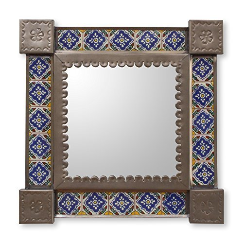 NOVICA-NOVICA Hollywood Glam Tin and Ceramic Wall Mounted Mirror, Multicolor, 'Mexican Bluebells'