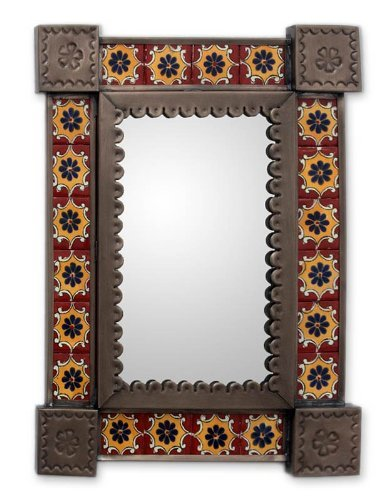 NOVICA-Floral Tin and Ceramic Wall Mounted Mirror