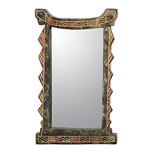 NOVICA-Wood Wall Mounted Mirror - Geometric Ghana