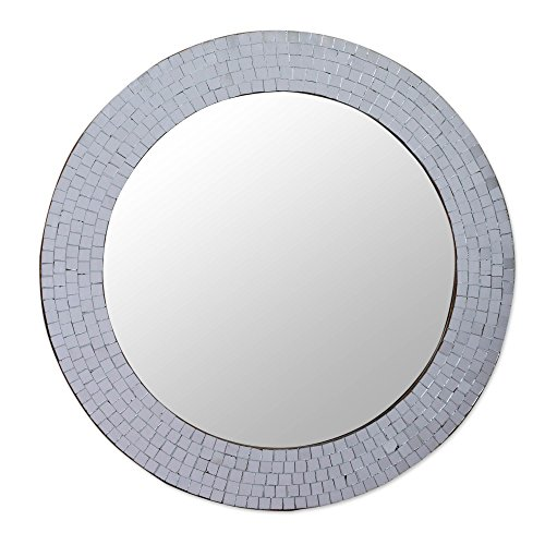 NOVICA-Mosaic Glass Circle Wall Mounted Mirror From India - Metallic Silvery Glamour
