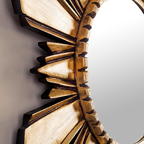 NOVICA-Leaf Round Starburst Mohena Wood with Bronze Wall Mounted Mirror - Metallic Cuzco Sun