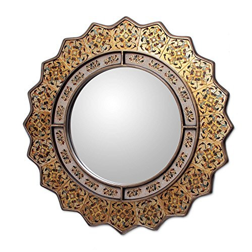 NOVICA-Floral Glass and Wood Wall Mounted Mirror
