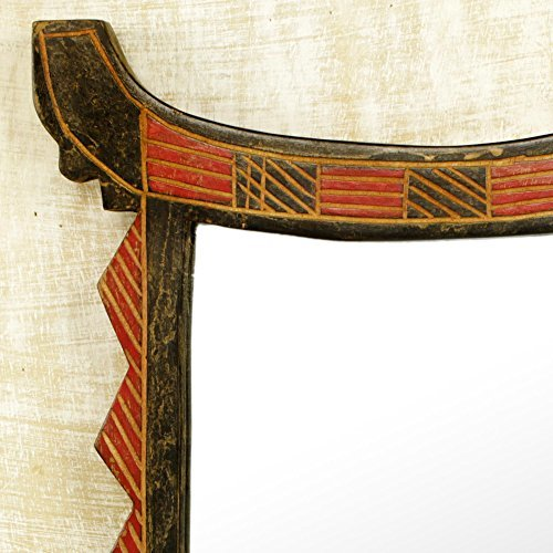 NOVICA-NOVICA Decorative Wood Wall Mounted Mirror, Black and Red, 'Ghanaian Throne'