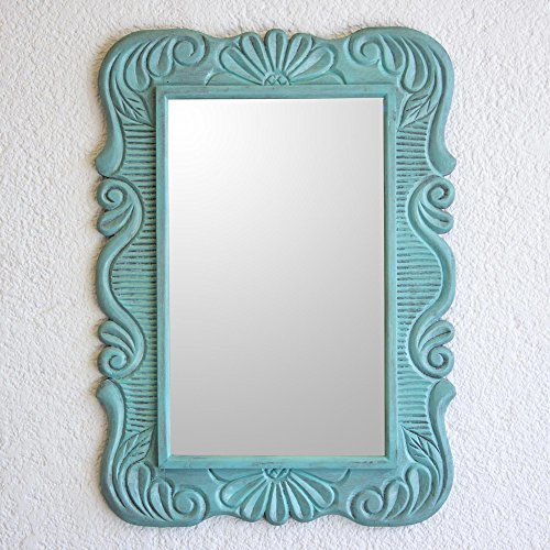 NOVICA-Floral Wood Wall Mounted Mirror - Green Sunflower View In Aqua