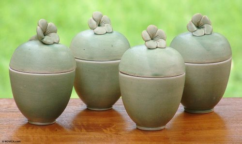NOVICA-Set of 4 Decorative Floral Ceramic Jars