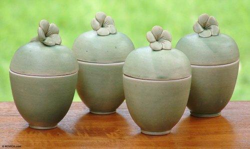 NOVICA-Set of 4 Decorative Floral Ceramic Jars
