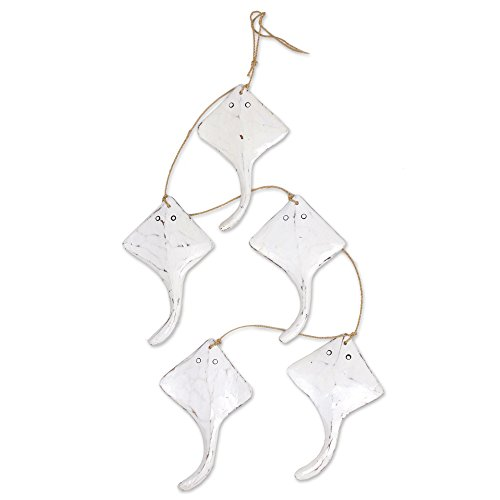 NOVICA-NOVICA Animal Themed Natural Fiber Garland, White, 'White Swimming Stingrays'