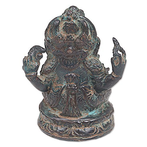 NOVICA-Black Green Buddha - Protector Ganesha