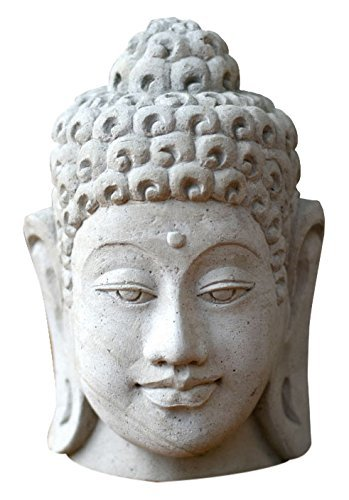 NOVICA-Lord Buddha Sandstone Bust Sculpture