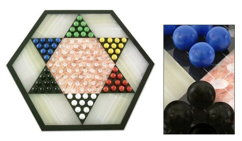 NOVICA-Hand Crafted Marble and Onyx Chinese Checkers Family Game - Colorful Contrast