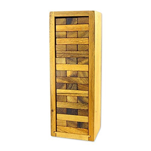 NOVICA-Brown Rain Tree Wood Stacking Tower Game with Box - Delight