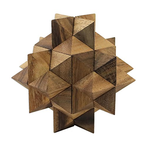 NOVICA-Decorative Wooden Game Puzzles - Brown Great Star