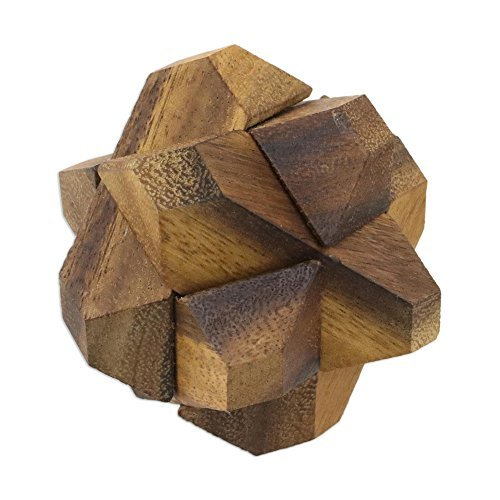 NOVICA-Wooden Game Puzzles - Brown Star Challenge