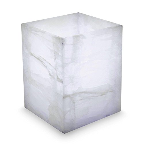 NOVICA-Modern Stone Table Lamp - White Puebla Dawn