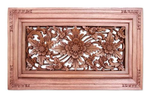NOVICA-Floral Large Wood Sculpture Wall Art - Brown Flower Of Dreams
