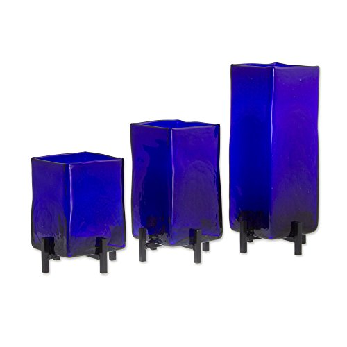 NOVICA-Set of 3 Artisan Crafted Hand Blown Blue Glass Rectangular Vases From Mexico Blue Hurricane