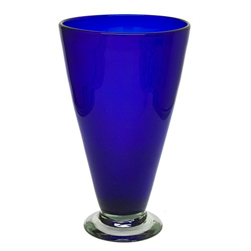 NOVICA-Decorative Large Blown Glass Vase - Blue Cobalt Cone