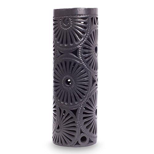 NOVICA-Barro Negro Ceramic Vase - Black Floral Pinwheel