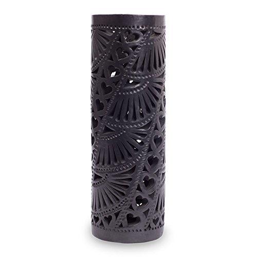 NOVICA-Barro Negro Ceramic Vase - Black Floral Hearts
