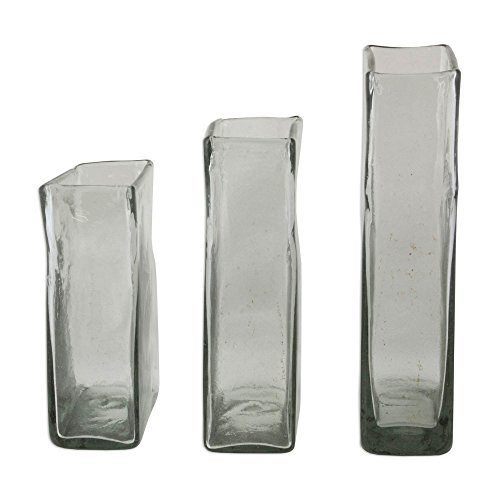 NOVICA-Set of 3 Decorative Glass Vase - Clear Ice
