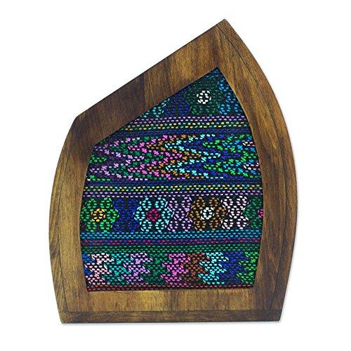 NOVICA-Textile Mountain Wood And Cotton Decorative Vase