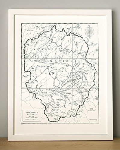 Quail Lane Press-Yosemite National Park, Letterpress Map Print