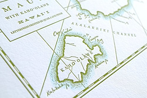 Quail Lane Press-Maui, Hawaii, Letterpress Map Print
