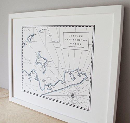 Quail Lane Press-Montauk, New York, Letterpress Map Print