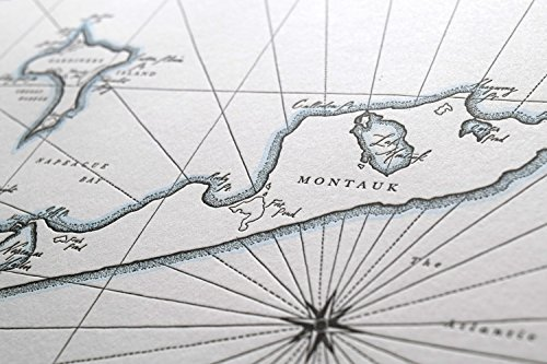 Quail Lane Press-Montauk, New York, Letterpress Map Print