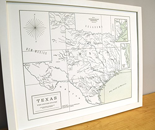 Quail Lane Press-Texas, Letterpress Map Print